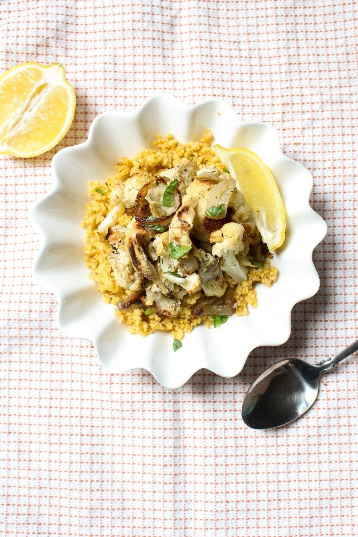 Roasted Cauliflower + Artichoke Millet Salad Recipe | HeyFood — heyfoodapp.com