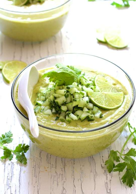 Cold Thai Cucumber Avocado Soup with Cucumber Relish Recipe | HeyFood — heyfoodapp.com