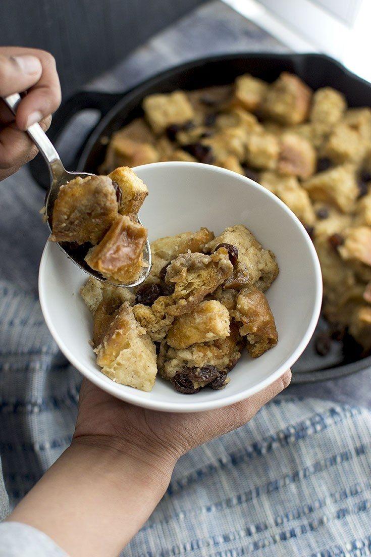 Vegan Bread Pudding with Butterscotch Sauce Recipe   HeyFood — heyfoodapp.com