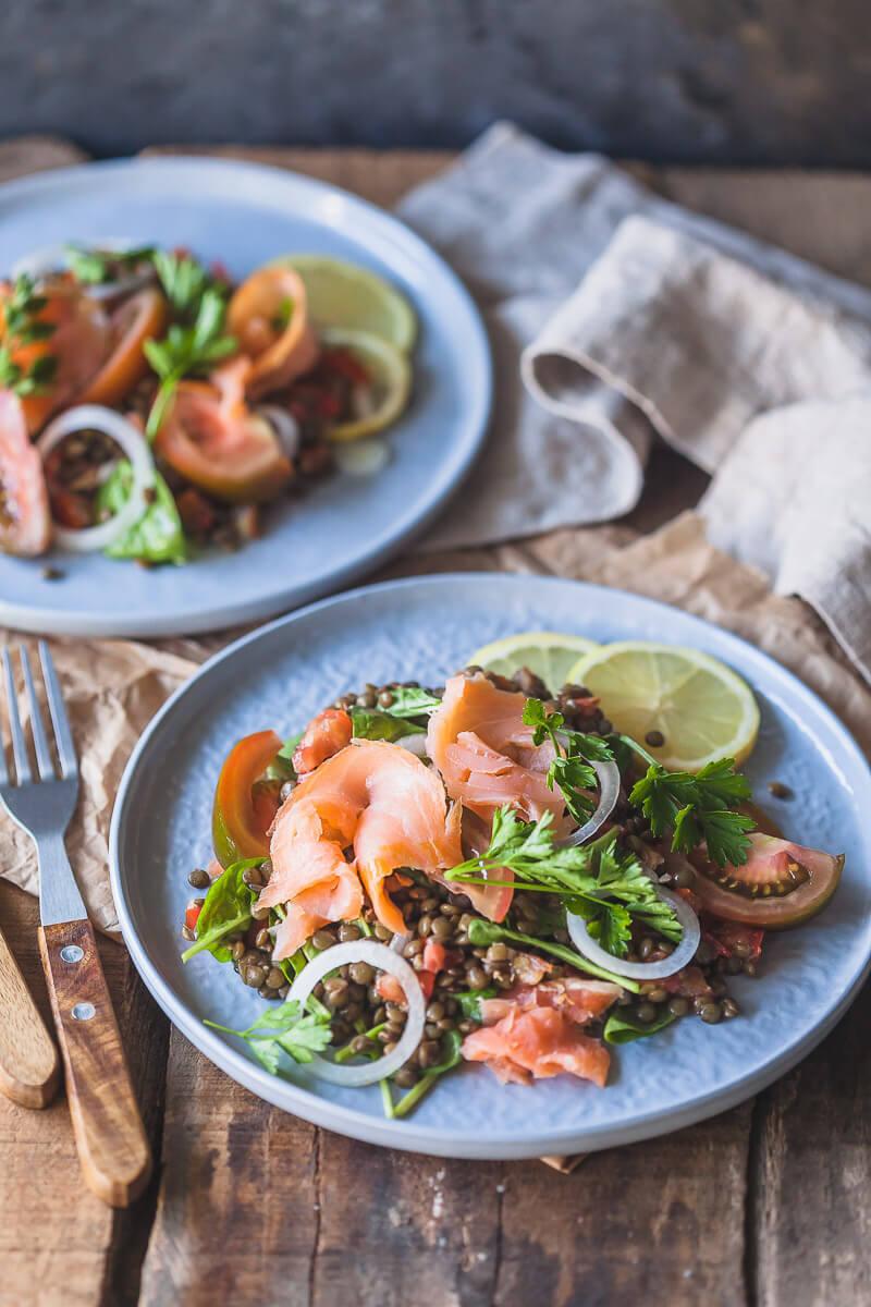 Low-Carb Smoked Salmon Lentil Salad Recipe   HeyFood — heyfoodapp.com