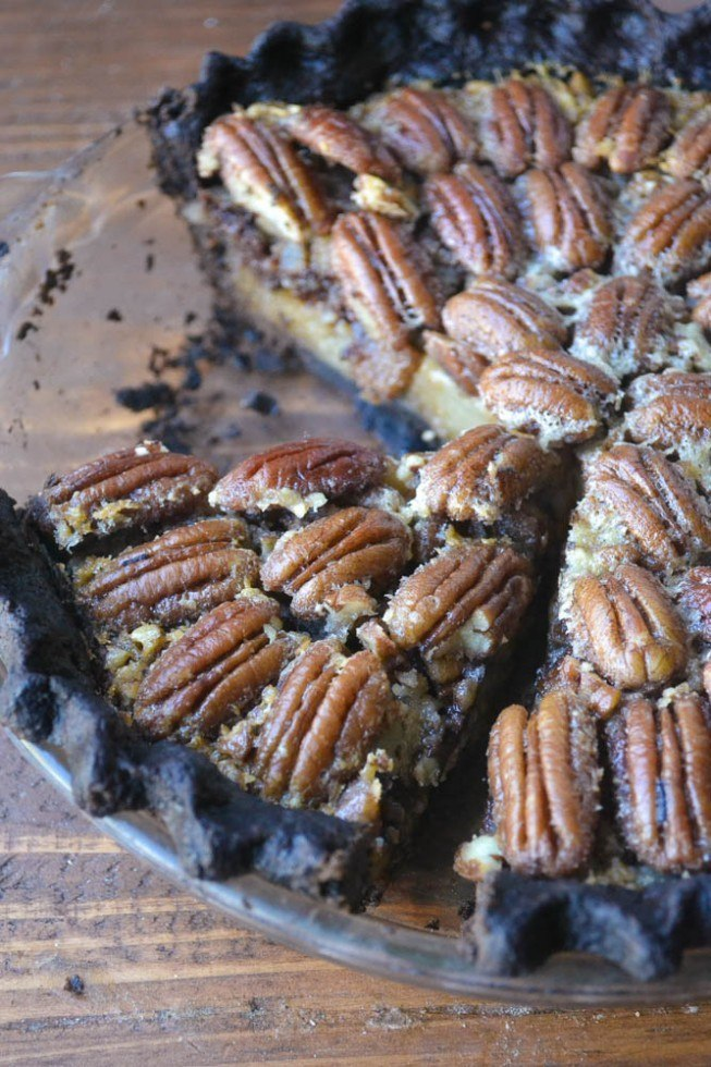 Black Bottom Bourbon Pecan Pie Recipe | HeyFood — heyfoodapp.com