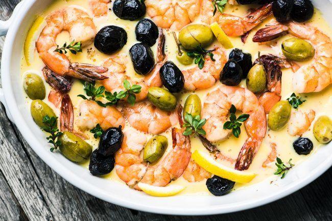 Shrimp in Lemon Sauce with Olives Recipe | HeyFood — heyfoodapp.com