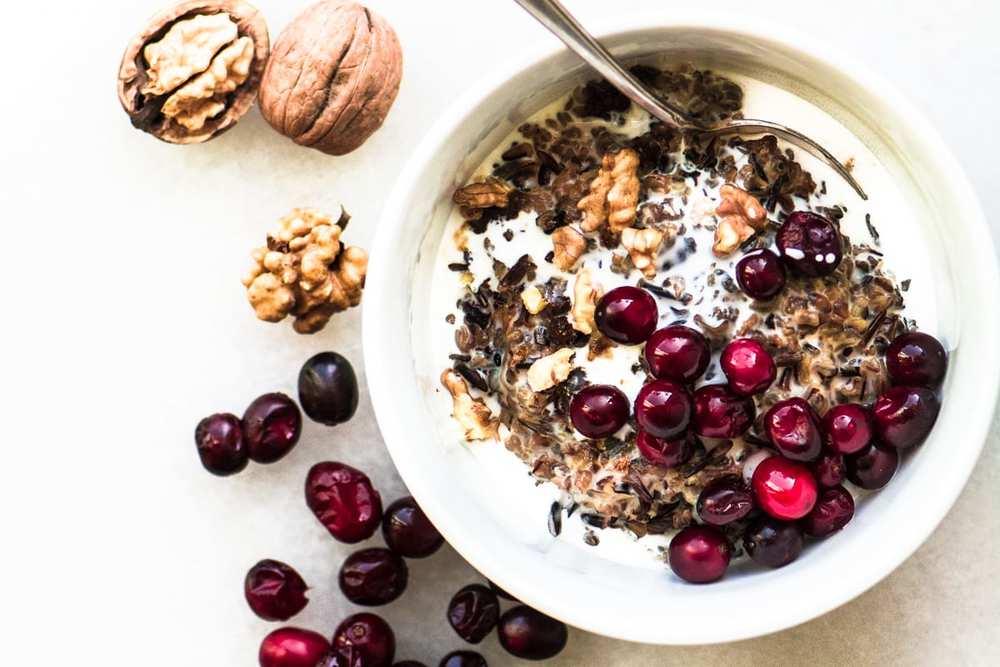 Cranberry Walnut Wild Rice Porridge Recipe   HeyFood — heyfoodapp.com