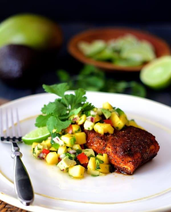 Blackened Halibut with Mango and Avocado Salsa Recipe | HeyFood — heyfoodapp.com