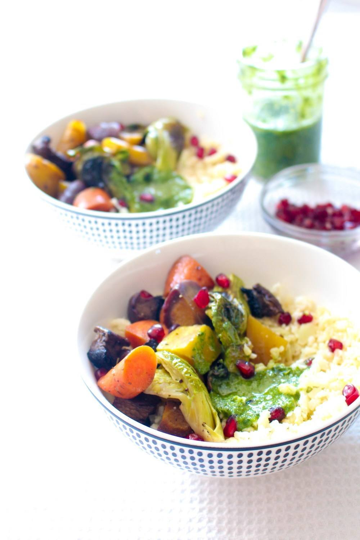 Roasted Vegetables with Cauliflower Rice and Pesto Recipe | HeyFood — heyfoodapp.com