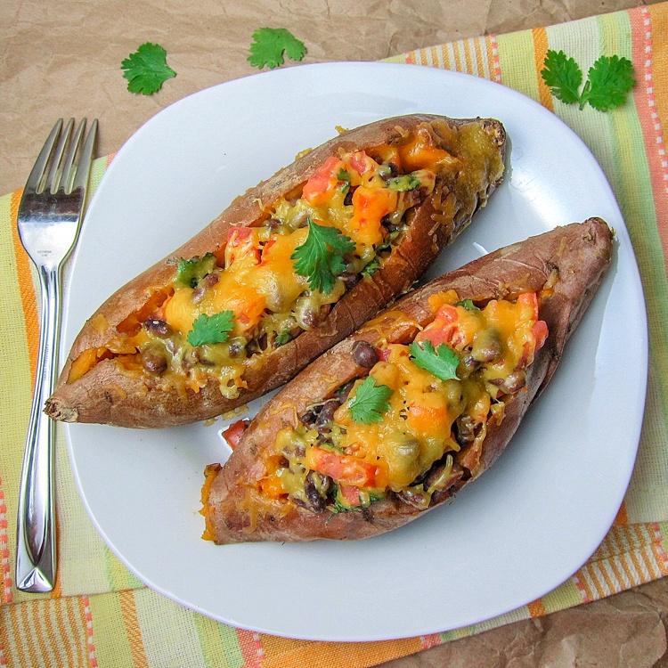 Chipotle Black Bean Stuffed Sweet Potatoes Recipe   HeyFood — heyfoodapp.com