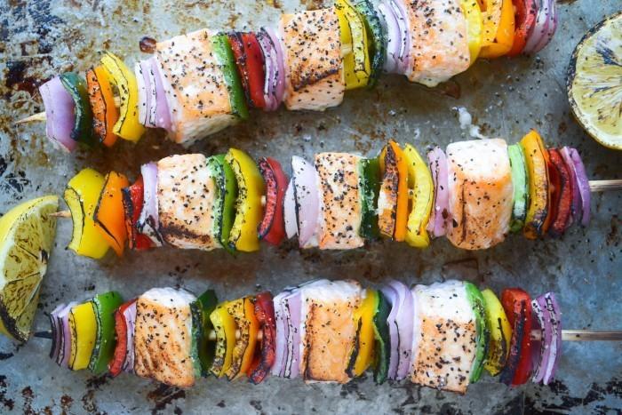 Rainbow Salmon Skewers Recipe   HeyFood — heyfoodapp.com