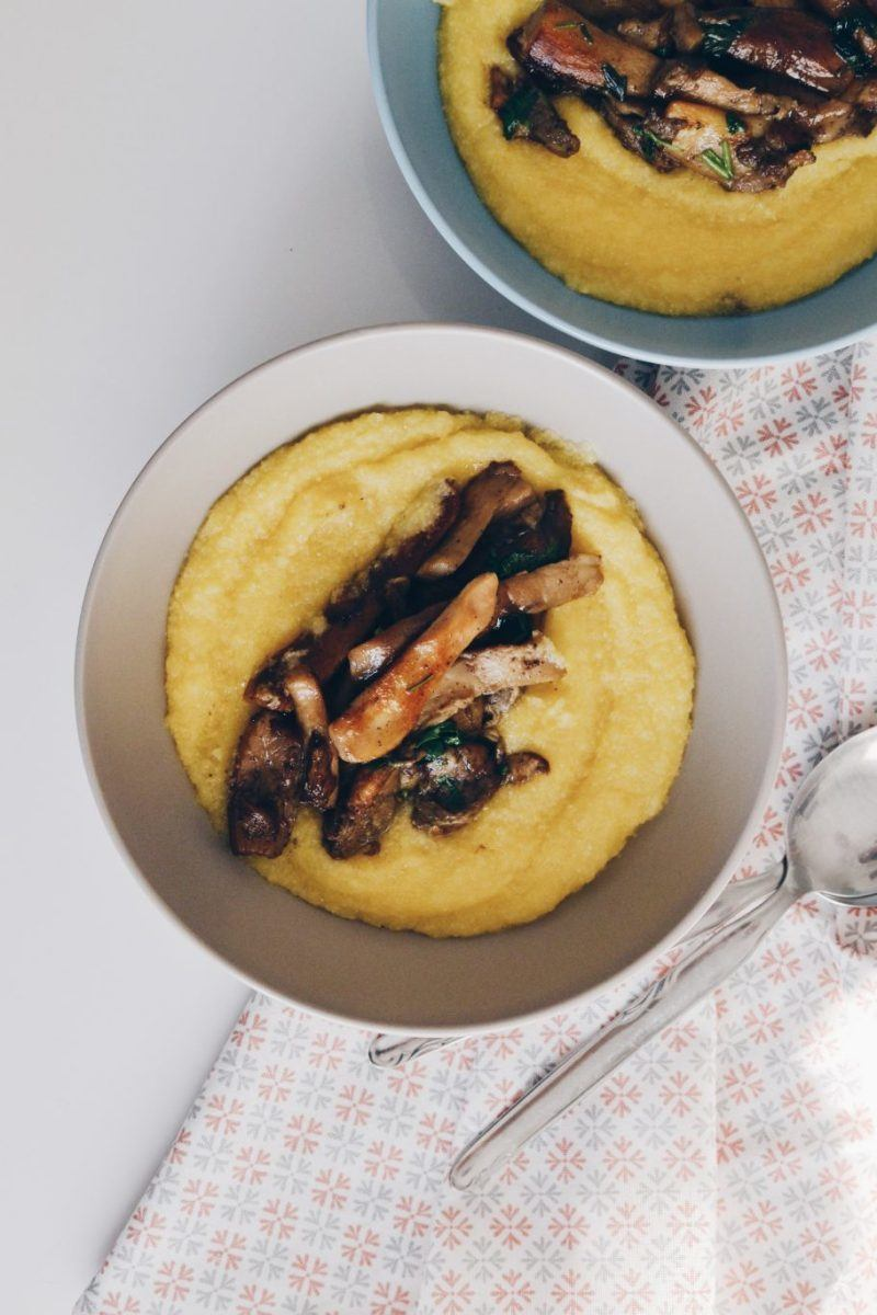 Creamy polenta with sautéed porcini mushrooms Recipe | HeyFood — heyfoodapp.com