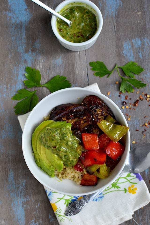 Quinoa and Roasted Vegetables with Chimichurri Sauce Recipe | HeyFood — heyfoodapp.com