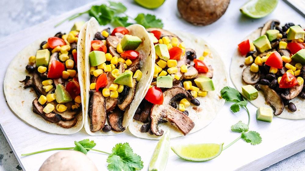 Mushroom & Black Bean Tacos - 15 Minute Dinner Recipe Recipe | HeyFood — heyfoodapp.com