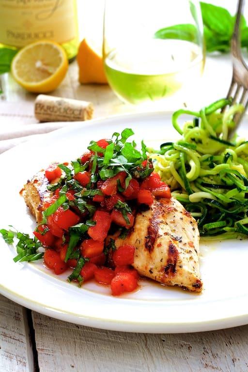 Chicken Bruschetta with Zucchini Noodles Recipe | HeyFood — heyfoodapp.com