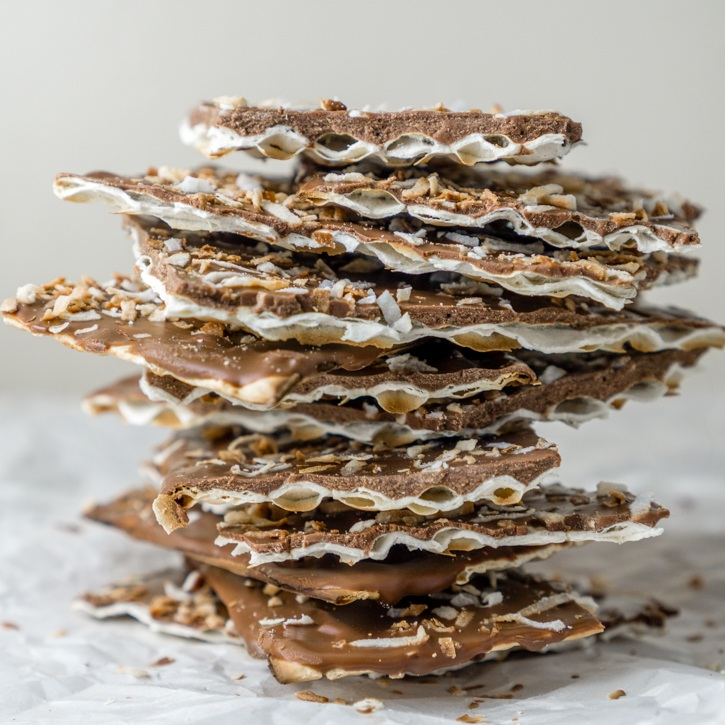 Toasted Coconut Chocolate Matza (what to do with leftover matza) Recipe | HeyFood — heyfoodapp.com