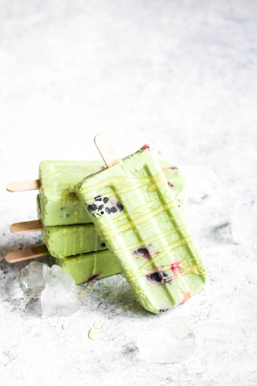 Berry Matcha Latte Popsicles with Honey Drizzle Recipe | HeyFood — heyfoodapp.com