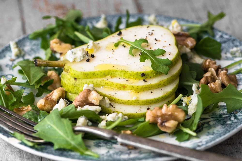 Pear Salad with Creamy Walnut Vinaigrette Recipe | HeyFood — heyfoodapp.com