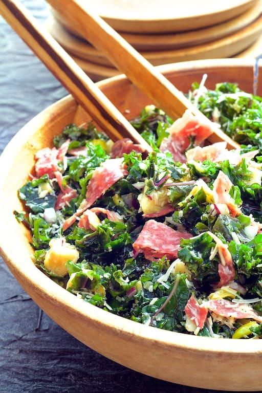 Massaged Kale Antipasto Salad Recipe   HeyFood — heyfoodapp.com