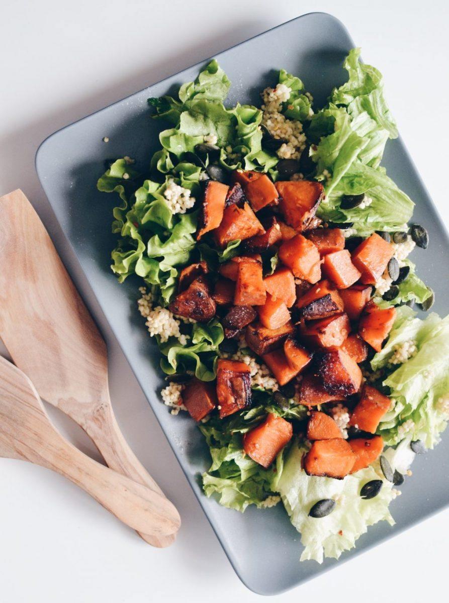 Sweet potato, millet & green salad Recipe   HeyFood — heyfoodapp.com