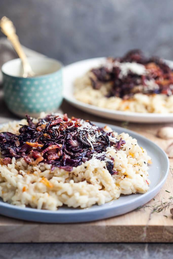 Grilled Radicchio Risotto with Bacon Recipe | HeyFood — heyfoodapp.com