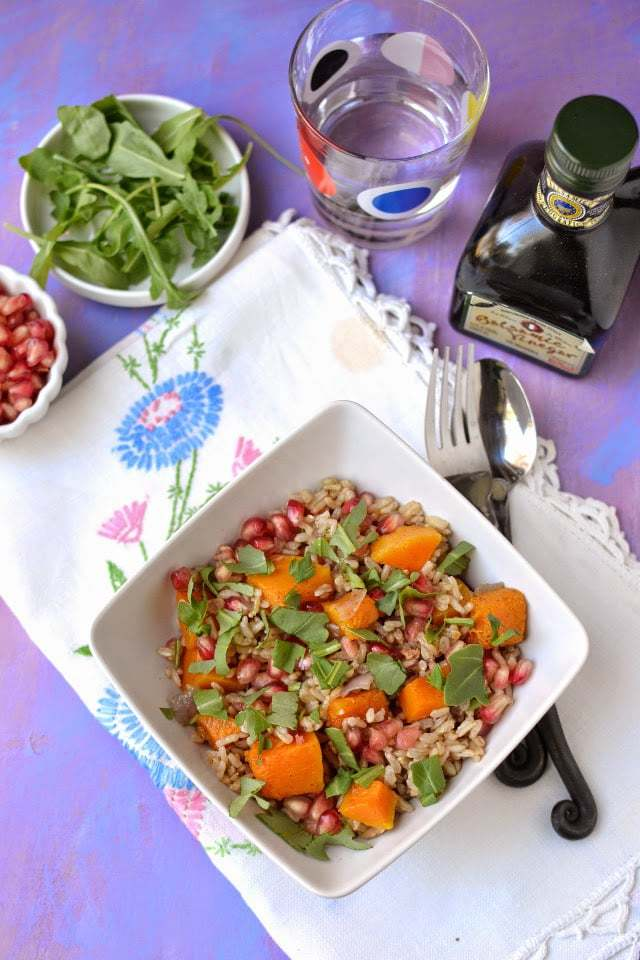 Brown Rice Salad with Roasted Butternut Squash & Pomegranates Recipe | HeyFood — heyfoodapp.com
