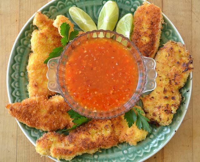Coconut Chicken with Sweet Chili Dipping Sauce Recipe   HeyFood — heyfoodapp.com