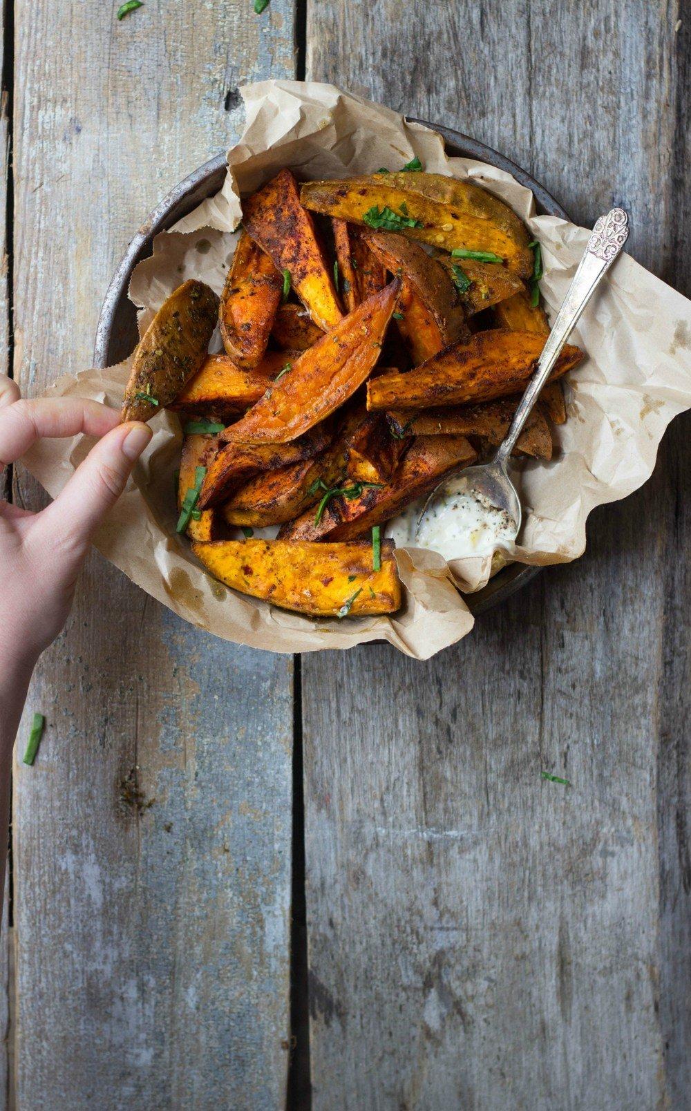 Spice-Roasted Sweet Potato Wedges Recipe   HeyFood — heyfoodapp.com