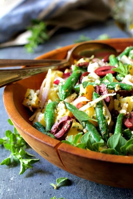 Potato Green Bean Salad with Olives and Feta Cheese Recipe   HeyFood — heyfoodapp.com