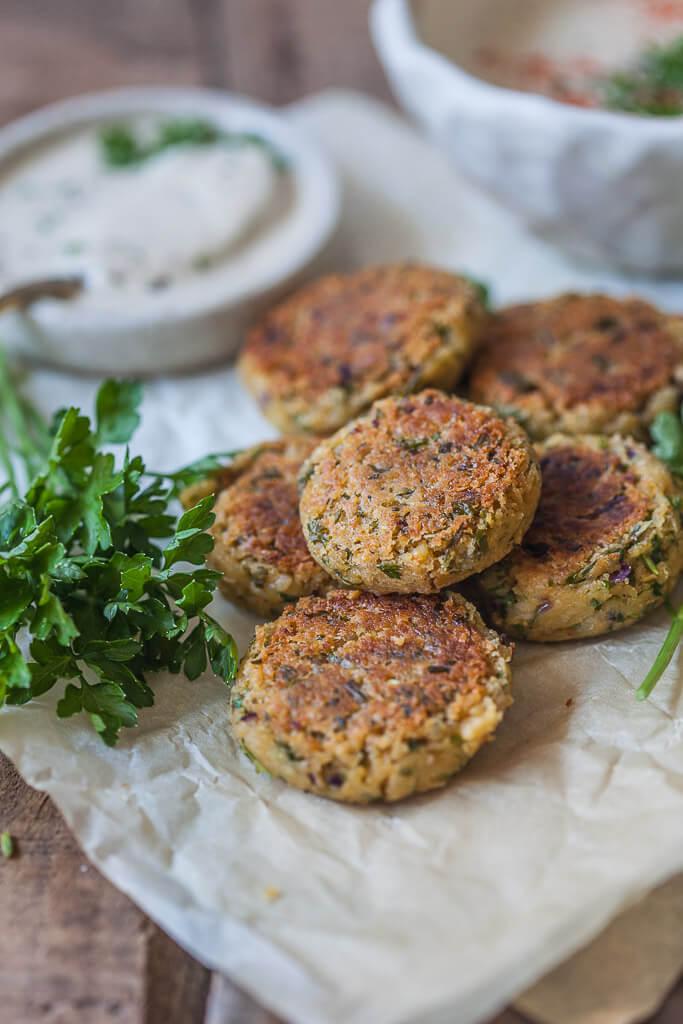 Healthier Pan Fried Falafel {Vegan} Recipe | HeyFood — heyfoodapp.com