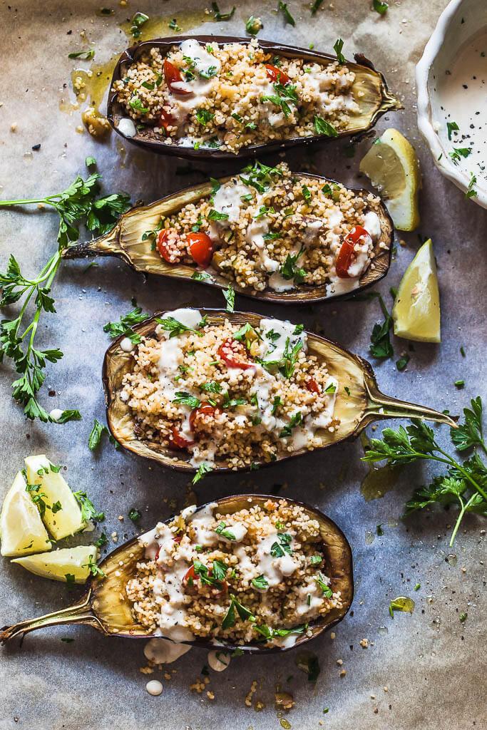 Couscous Stuffed Eggplant with Lemon Tahini Sauce Recipe | HeyFood — heyfoodapp.com