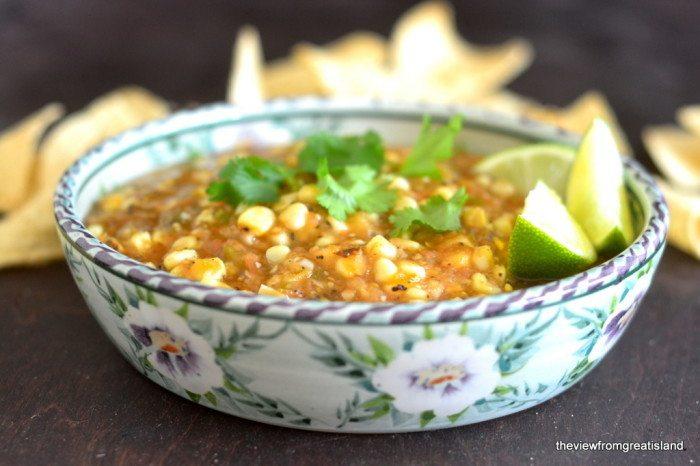 Fire Roasted Tomatillo & Corn Salsa Recipe | HeyFood — heyfoodapp.com