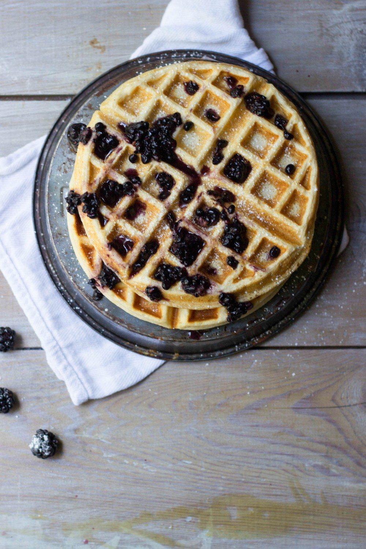 Lemon Meringue Waffles + Blackberry Maple Syrup Recipe | HeyFood — heyfoodapp.com