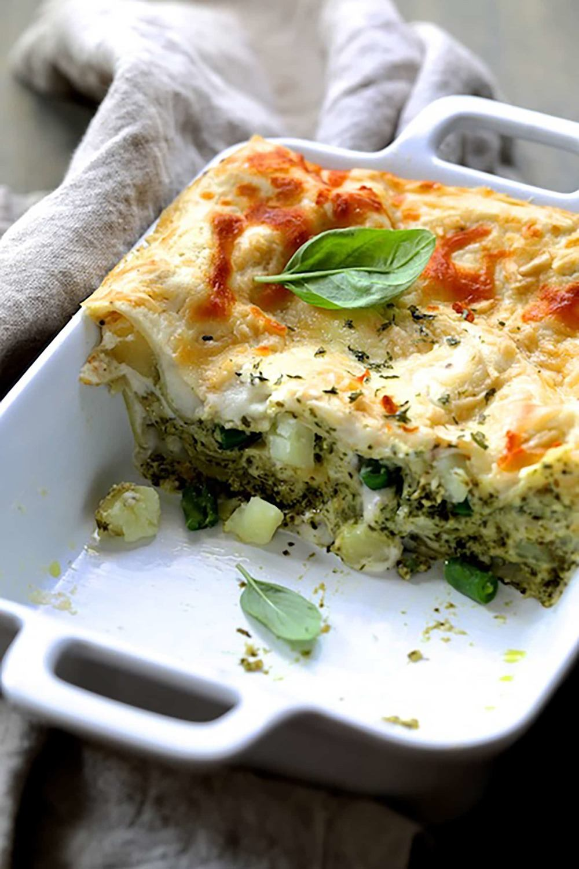 Lasagna with Pesto Green Beans and Potatoes Recipe | HeyFood — heyfoodapp.com