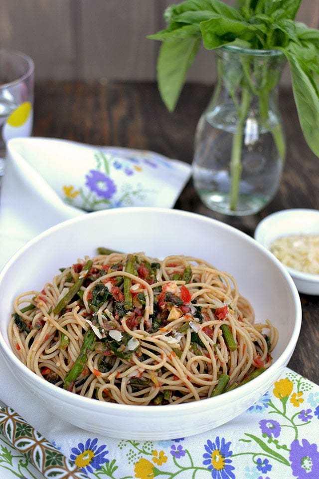 Asparagus & Spinach Pasta with Checca Sauce Recipe | HeyFood — heyfoodapp.com