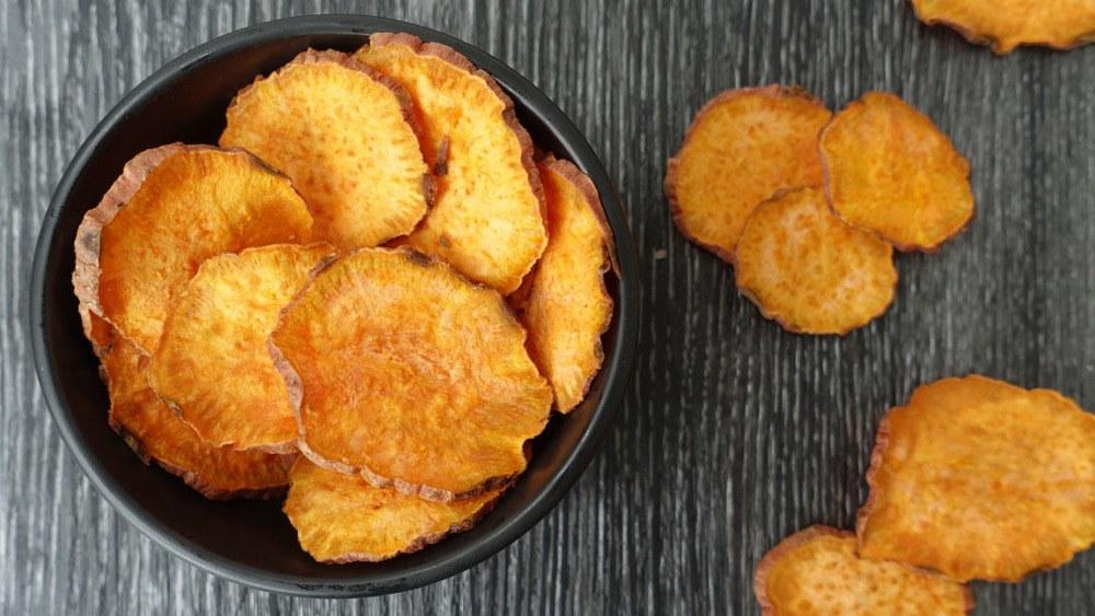 Microwave Sweet Potato Chips Recipe | HeyFood — heyfoodapp.com