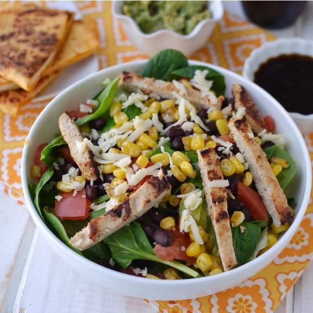 Salad with Black beans & Corn and Citrus Blasamic Vinaigrette Recipe | HeyFood — heyfoodapp.com