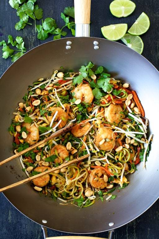 Shrimp Pad Thai with Zucchini Noodles Recipe | HeyFood — heyfoodapp.com
