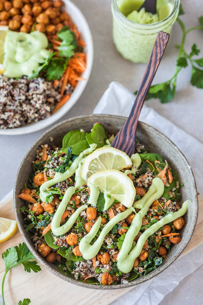 Chickpeas Kale Quinoa Buddha Bowl  Recipe | HeyFood — heyfoodapp.com