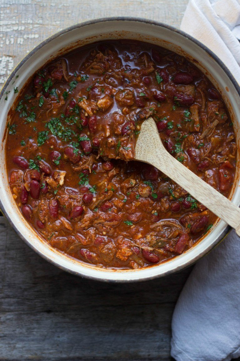 Smoky Pulled Pork Chili and Cornbread Croutons Recipe | HeyFood — heyfoodapp.com