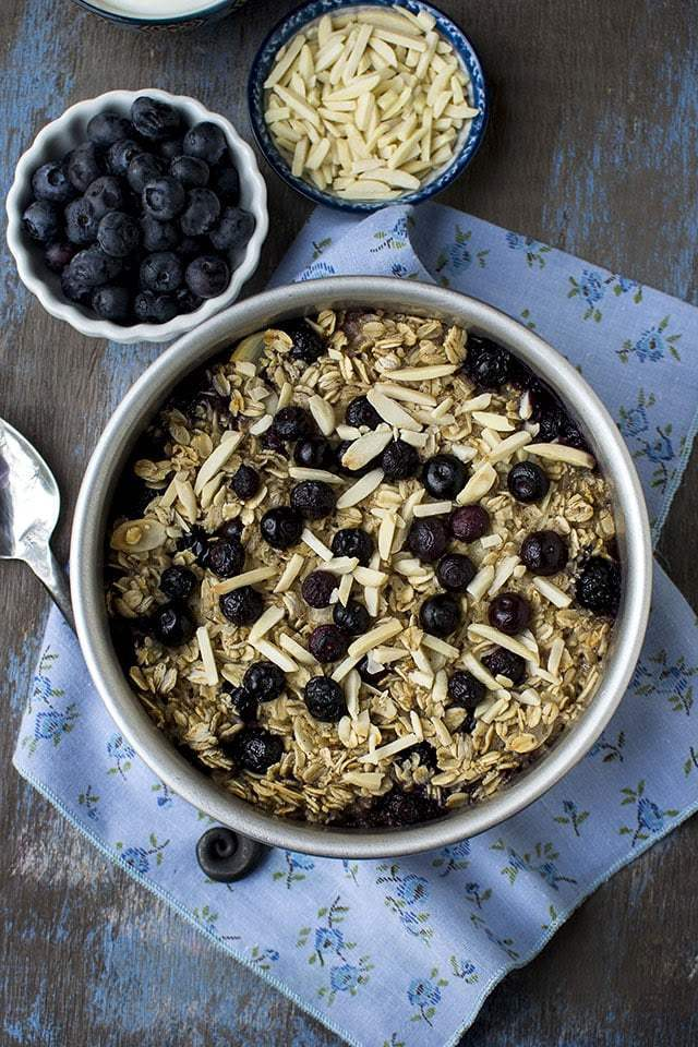 Baked Oatmeal with Coconut milk and Blueberries Recipe | HeyFood — heyfoodapp.com
