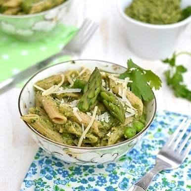 Penne with Asparagus & Pistachio Pesto Recipe | HeyFood — heyfoodapp.com