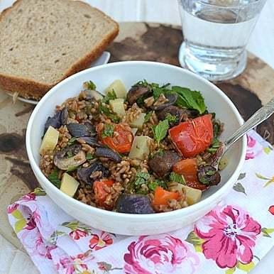 Farro Salad with Roasted Vegetables Recipe | HeyFood — heyfoodapp.com