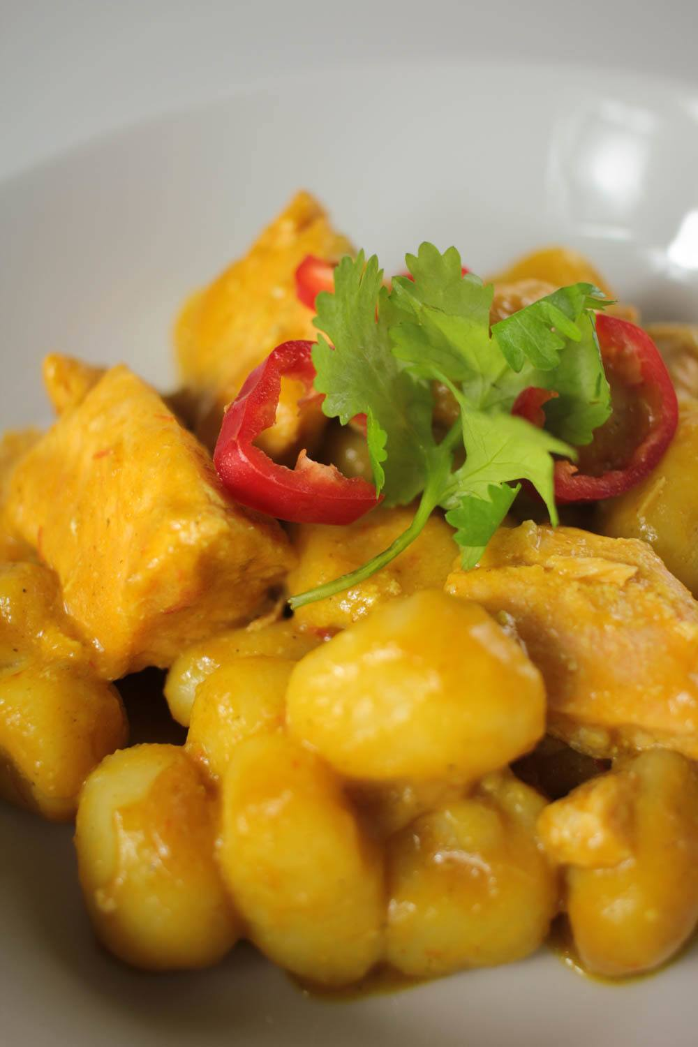 Coconut Salmon Curry with Gnocchi Recipe | HeyFood — heyfoodapp.com