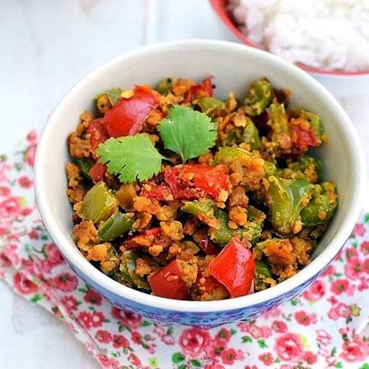 Pepper Besan Curry (Capsicum Chickpea flour dry curry) Recipe | HeyFood — heyfoodapp.com