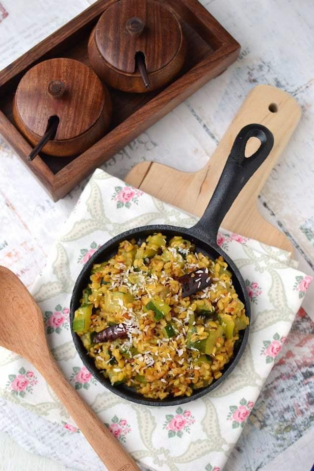 Zucchini Dry Curry (Zucchini Pesarapappu Podi Kura) Recipe   HeyFood — heyfoodapp.com