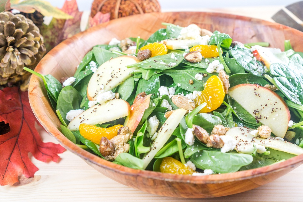 Fall Apple Mandarin Orange Spinach Salad with Mandarin-Poppyseed Dressing Recipe | HeyFood — heyfoodapp.com