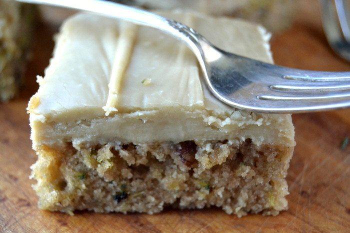 Caramel Frosted Zucchini Pecan Bars Recipe | HeyFood — heyfoodapp.com
