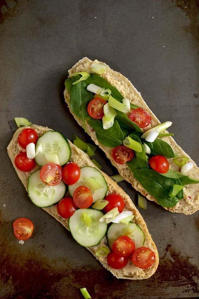 Cucumber Tomato Sandwich with Hummus Recipe | HeyFood — heyfoodapp.com