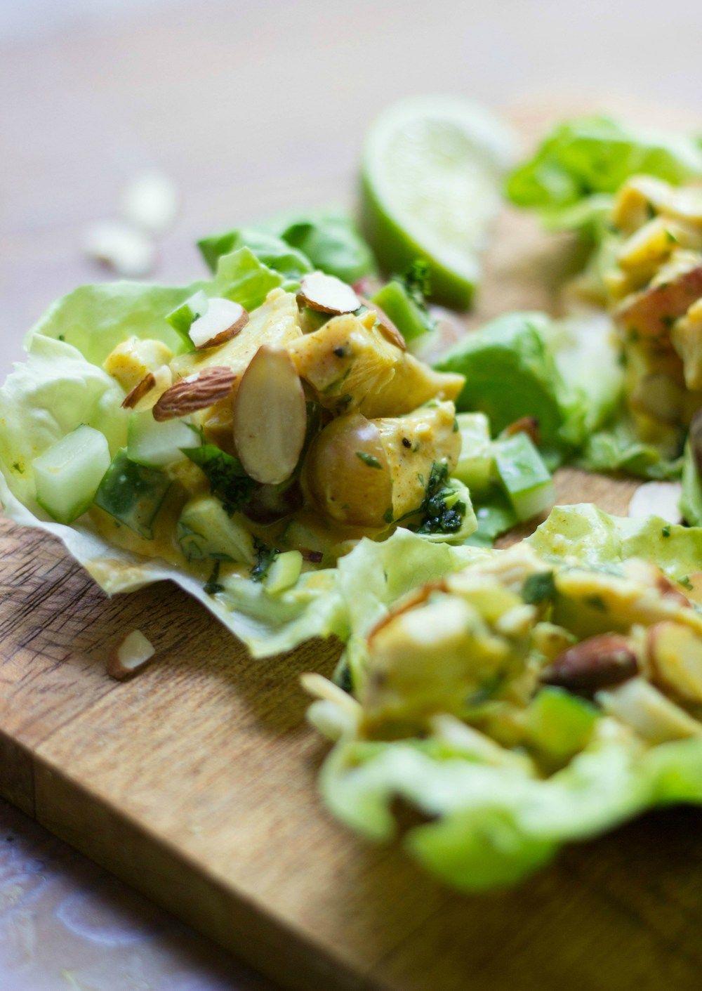 Curried Turkey Salad Lettuce Cups Recipe | HeyFood — heyfoodapp.com