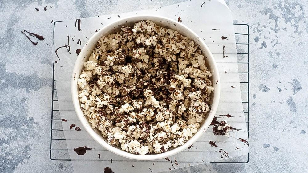 Salted Dark Chocolate Popcorn Recipe | HeyFood — heyfoodapp.com