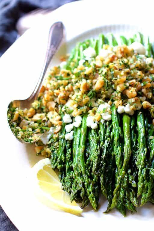 Roasted Asparagus with Goat Cheese and Walnut Lemon Gremolata Recipe | HeyFood — heyfoodapp.com