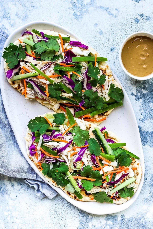 Chicken Satay Salad Flatbread Recipe | HeyFood — heyfoodapp.com
