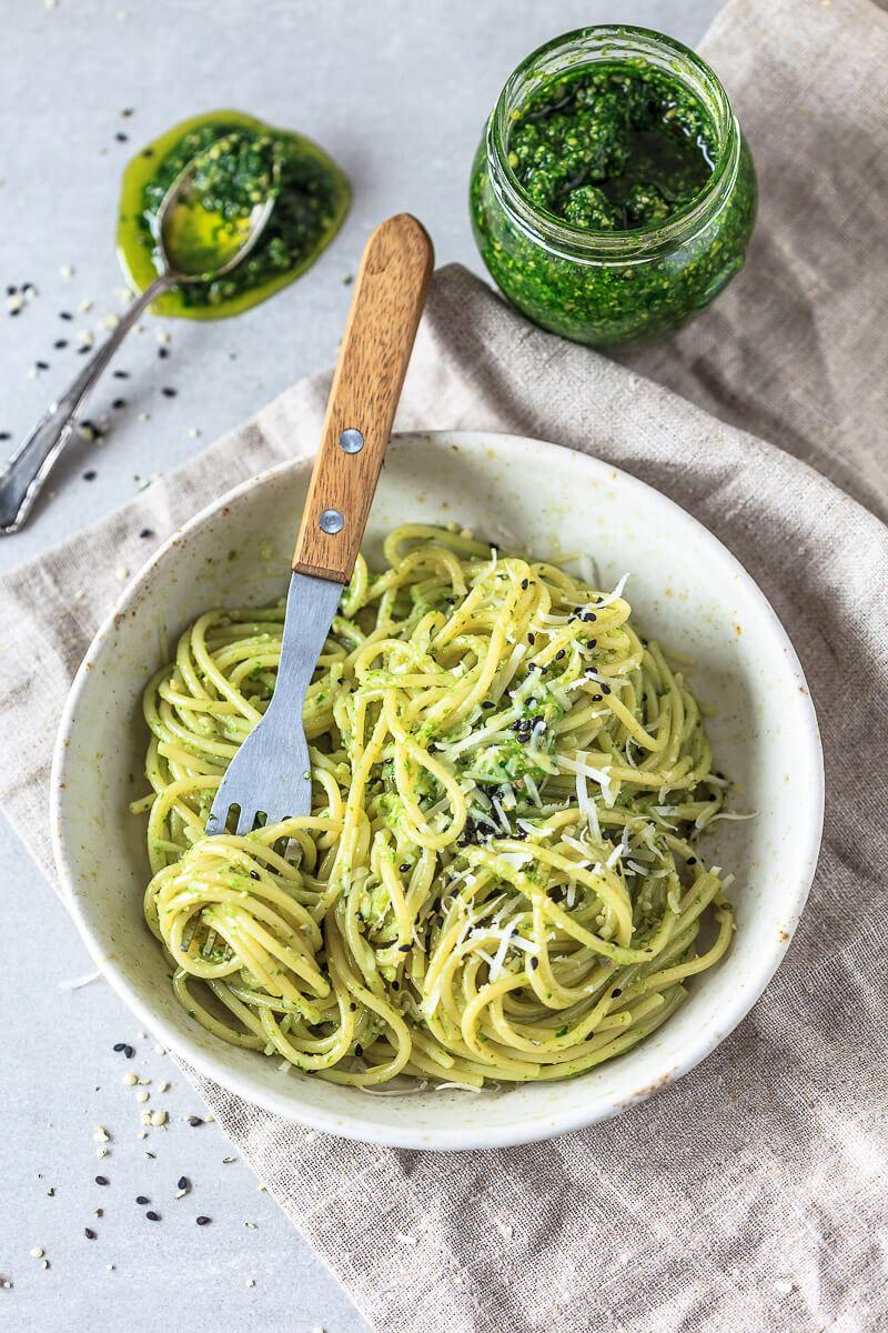 Wild Garlic Pesto Spaghetti  Recipe   HeyFood — heyfoodapp.com